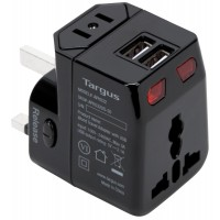 WORLD TRAVEL POWER ADAPTER WITH DUAL USB CHARGIN PORTS